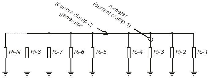 Электрическая схема замещения для предыдущего практического примера.  Если суммарное сопротивление вспомогательных...